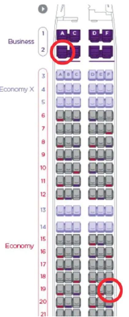 TLý do ghế 19F và 2A trên máy bay được khách đặt nhiều nhất
